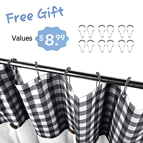 VIEIFN Farmhouse Shower Curtains For The Bathroom With 12 HooksCountry Style Plaid Stitching Shower Curtain With Rustic Buttons Farmhouse Bathroom DecorBlack And White72 X 72 0 0