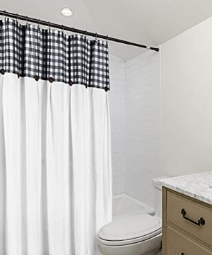 VIEIFN Farmhouse Shower Curtains For The Bathroom With 12 HooksCountry Style Plaid Stitching Shower Curtain With Rustic Buttons Farmhouse Bathroom DecorBlack And White72 X 72 0 1 300x360