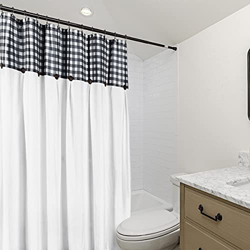 VIEIFN Farmhouse Shower Curtains For The Bathroom With 12 HooksCountry Style Plaid Stitching Shower Curtain With Rustic Buttons Farmhouse Bathroom DecorBlack And White72 X 72 0 1