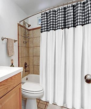 VIEIFN Farmhouse Shower Curtains For The Bathroom With 12 HooksCountry Style Plaid Stitching Shower Curtain With Rustic Buttons Farmhouse Bathroom DecorBlack And White72 X 72 0 2 300x360