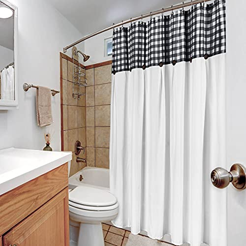 VIEIFN Farmhouse Shower Curtains For The Bathroom With 12 HooksCountry Style Plaid Stitching Shower Curtain With Rustic Buttons Farmhouse Bathroom DecorBlack And White72 X 72 0 2