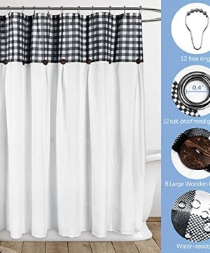 VIEIFN Farmhouse Shower Curtains For The Bathroom With 12 HooksCountry Style Plaid Stitching Shower Curtain With Rustic Buttons Farmhouse Bathroom DecorBlack And White72 X 72 0 3 300x360