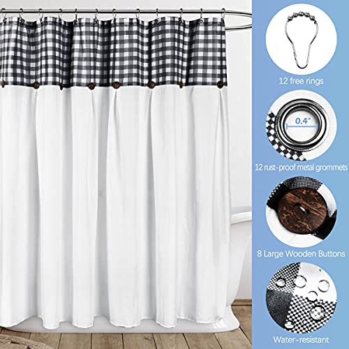 VIEIFN Farmhouse Shower Curtains For The Bathroom With 12 HooksCountry Style Plaid Stitching Shower Curtain With Rustic Buttons Farmhouse Bathroom DecorBlack And White72 X 72 0 3