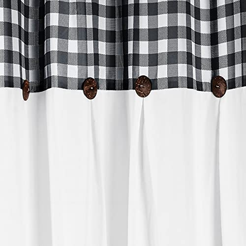 VIEIFN Farmhouse Shower Curtains For The Bathroom With 12 HooksCountry Style Plaid Stitching Shower Curtain With Rustic Buttons Farmhouse Bathroom DecorBlack And White72 X 72 0 4