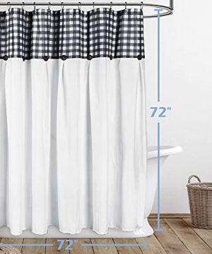 VIEIFN Farmhouse Shower Curtains For The Bathroom With 12 HooksCountry Style Plaid Stitching Shower Curtain With Rustic Buttons Farmhouse Bathroom DecorBlack And White72 X 72 0 5 300x360
