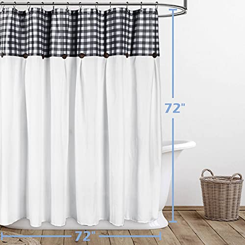 VIEIFN Farmhouse Shower Curtains For The Bathroom With 12 HooksCountry Style Plaid Stitching Shower Curtain With Rustic Buttons Farmhouse Bathroom DecorBlack And White72 X 72 0 5