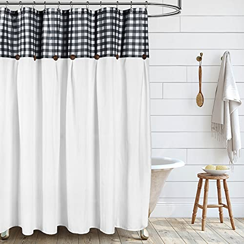 VIEIFN Farmhouse Shower Curtains For The Bathroom With 12 HooksCountry Style Plaid Stitching Shower Curtain With Rustic Buttons Farmhouse Bathroom DecorBlack And White72 X 72 0