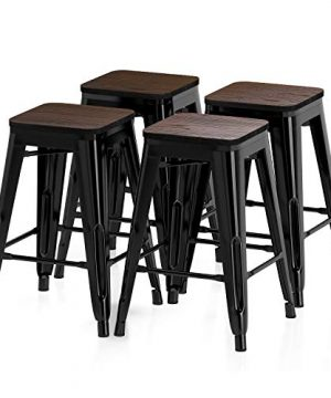 VIPEK 24 Inches Counter Height Bar Stools Metal Barstool With Solid Elm Wood Seat Backless 24 Stackable Dining Chair Fit For 34 36 Dining Table Patio Bar Bistro Cafe Kitchen Set Of 4 Gloss Black 0 300x360
