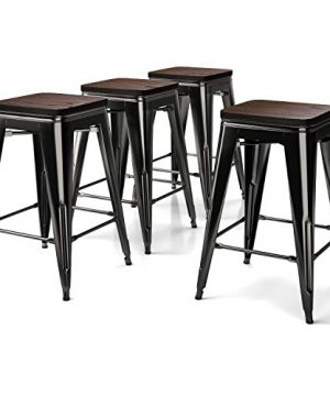 VIPEK 24 Inch Metal Bar Stool Counter Height Barstools With Solid Wood Seat Set Of 4 Backless 24 Stackable Dining Chair Fit For 34 36 Dining Table Patio Bar Bistro Cafe Kitchen Gloss Black 0 300x360