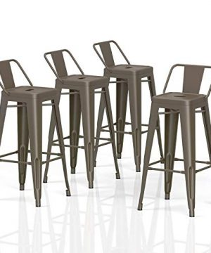 VIPEK 30 Inches Bar Stools Commercial Grade Patio Metal Bar Chairs With Low Back 30 Height Barstool Side Dining Chairs For Outdoor Bistro Pub Cafe Indoor Kitchen Set Of 4 Gun Color 0 300x360