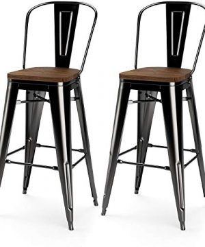 VIPEK 30 Inches Metal Bar Stools 30 Height Barstool With Solid Elm Wooden Seat High Back Commercial Grade For Indoor Kitchen Restaurant Dining Chairs Outdoor Patio Bistro Set Of 2 Gloss Black 0 300x360