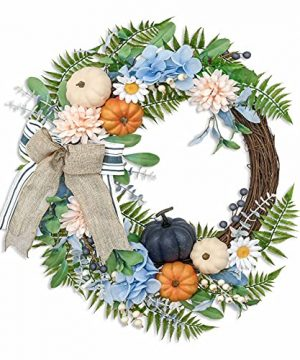 Valery Madelyn 24 Inch Fall Wreath For Front Door Harvest Wreath With Blue Hydrangea Pumpkin White Daisy Berries For Window Wall Home Decor Autumn Thanksgiving Indoor Outdoor Decoration 0 300x360