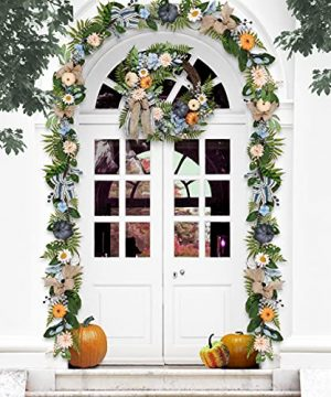 Valery Madelyn 6 Feet Fall Garland With Blue Hydrangea Pumpkin Daisies Autumn Hanging Vine Garland Thanksgiving Harvest Decorations For Front Door Window Fireplace Indoor Outdoor Home Decor 0 0 300x360