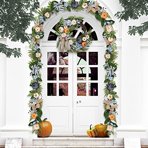 Valery Madelyn 6 Feet Fall Garland With Blue Hydrangea Pumpkin Daisies Autumn Hanging Vine Garland Thanksgiving Harvest Decorations For Front Door Window Fireplace Indoor Outdoor Home Decor 0 0
