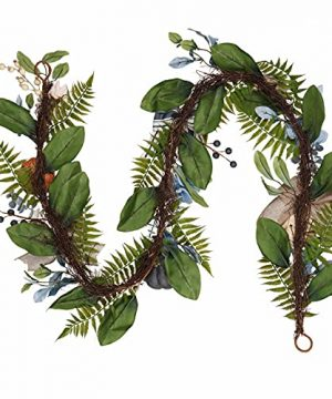 Valery Madelyn 6 Feet Fall Garland With Blue Hydrangea Pumpkin Daisies Autumn Hanging Vine Garland Thanksgiving Harvest Decorations For Front Door Window Fireplace Indoor Outdoor Home Decor 0 1 300x360