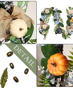 Valery Madelyn 6 Feet Fall Garland With Blue Hydrangea Pumpkin Daisies Autumn Hanging Vine Garland Thanksgiving Harvest Decorations For Front Door Window Fireplace Indoor Outdoor Home Decor 0 2 300x360