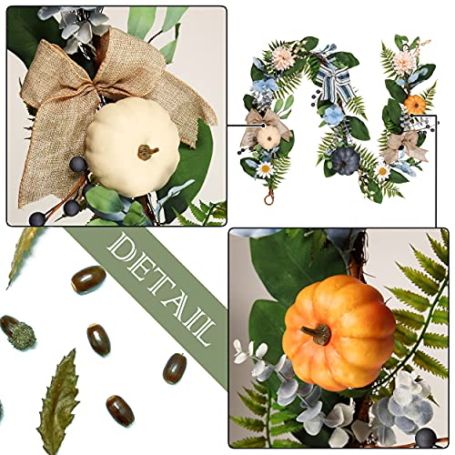 Valery Madelyn 6 Feet Fall Garland With Blue Hydrangea Pumpkin Daisies Autumn Hanging Vine Garland Thanksgiving Harvest Decorations For Front Door Window Fireplace Indoor Outdoor Home Decor 0 2