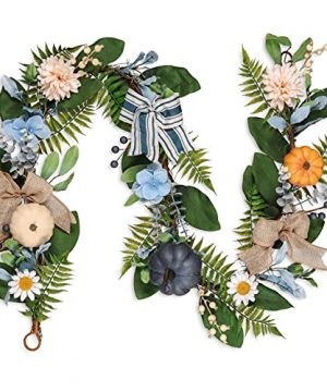 Valery Madelyn 6 Feet Fall Garland With Blue Hydrangea Pumpkin Daisies Autumn Hanging Vine Garland Thanksgiving Harvest Decorations For Front Door Window Fireplace Indoor Outdoor Home Decor 0 300x360