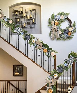 Valery Madelyn 6 Feet Fall Garland With Blue Hydrangea Pumpkin Daisies Autumn Hanging Vine Garland Thanksgiving Harvest Decorations For Front Door Window Fireplace Indoor Outdoor Home Decor 0 4 300x360