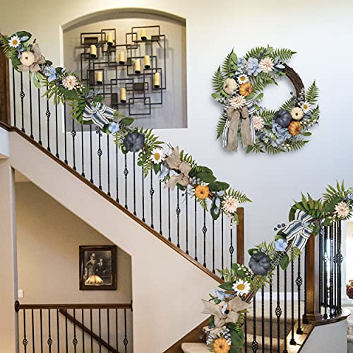 Valery Madelyn 6 Feet Fall Garland With Blue Hydrangea Pumpkin Daisies Autumn Hanging Vine Garland Thanksgiving Harvest Decorations For Front Door Window Fireplace Indoor Outdoor Home Decor 0 4