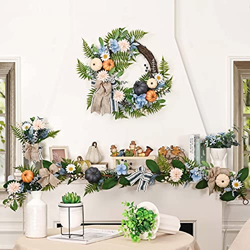 Valery Madelyn 6 Feet Fall Garland With Blue Hydrangea Pumpkin Daisies Autumn Hanging Vine Garland Thanksgiving Harvest Decorations For Front Door Window Fireplace Indoor Outdoor Home Decor 0 5