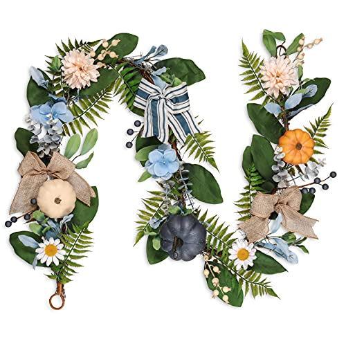 Valery Madelyn 6 Feet Fall Garland With Blue Hydrangea Pumpkin Daisies Autumn Hanging Vine Garland Thanksgiving Harvest Decorations For Front Door Window Fireplace Indoor Outdoor Home Decor 0