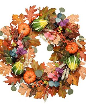 Valery Madelyn Fall Wreath For Front Door 24 Inch Harvest Wreath With Eucalyptus Leaves Pumpkin And Berry Cluster For Window Fireplace Wall Decor Thanksgiving Home Indoor Outdoor Decorations 0 300x360