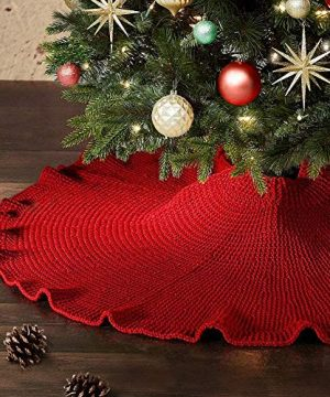 Vanteriam Curly Edge Christmas Tree Skirt 48 Inches Knit Knitted Thick Heavy Yarn Rustic Xmas Tree Skirt For Holiday Decoration Burgundy 0 300x360