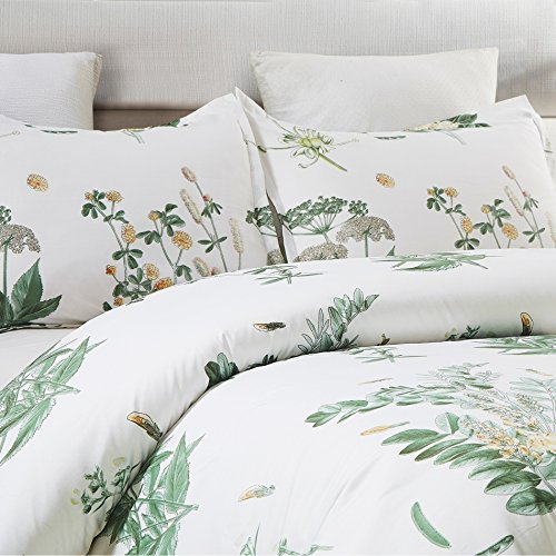 Vaulia Lightweight Microfiber Duvet Cover Set Floral Botanicals Printed Pattern Twin Size WhiteGreen Color 0 0