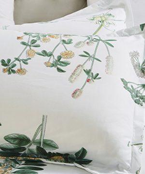 Vaulia Lightweight Microfiber Duvet Cover Set Floral Botanicals Printed Pattern Twin Size WhiteGreen Color 0 1 300x360