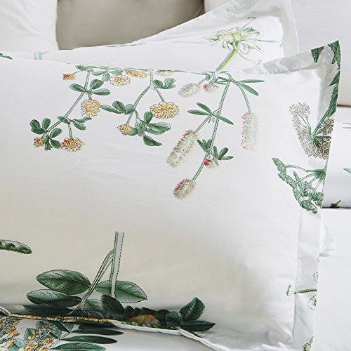 Vaulia Lightweight Microfiber Duvet Cover Set Floral Botanicals Printed Pattern Twin Size WhiteGreen Color 0 1