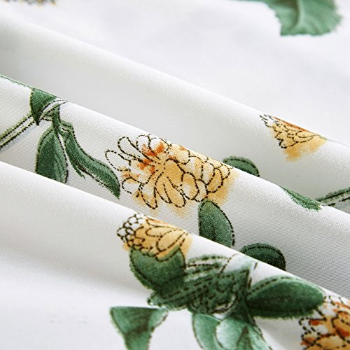 Vaulia Lightweight Microfiber Duvet Cover Set Floral Botanicals Printed Pattern Twin Size WhiteGreen Color 0 2