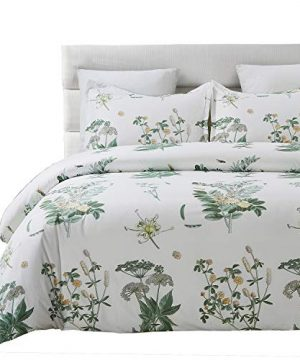 Vaulia Lightweight Microfiber Duvet Cover Set Floral Botanicals Printed Pattern Twin Size WhiteGreen Color 0 300x360