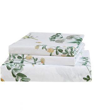Vaulia Lightweight Microfiber Duvet Cover Set Floral Botanicals Printed Pattern Twin Size WhiteGreen Color 0 4 300x360