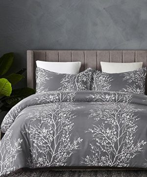Vaulia Lightweight Microfiber Duvet Cover Set Grey And White Floral Branches Printed Pattern Twin Size 0 0 300x360