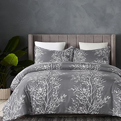 Vaulia Lightweight Microfiber Duvet Cover Set Grey And White Floral Branches Printed Pattern Twin Size 0 0