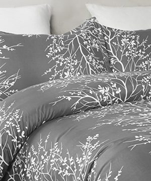 Vaulia Lightweight Microfiber Duvet Cover Set Grey And White Floral Branches Printed Pattern Twin Size 0 1 300x360