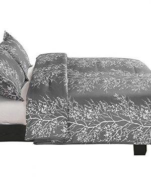Vaulia Lightweight Microfiber Duvet Cover Set Grey And White Floral Branches Printed Pattern Twin Size 0 2 300x360