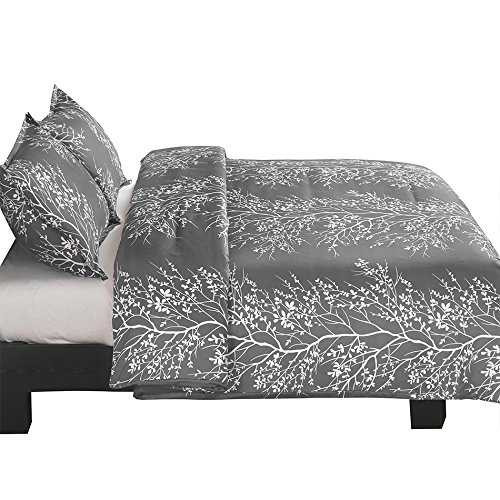 Vaulia Lightweight Microfiber Duvet Cover Set Grey And White Floral Branches Printed Pattern Twin Size 0 2