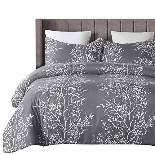 Vaulia Lightweight Microfiber Duvet Cover Set Grey And White Floral Branches Printed Pattern Twin Size 0