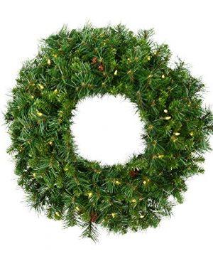 Vickerman 72 Cheyenne Pine Artificial Christmas Wreath Warm White LED Lights Faux Christmas Wreath Seasonal Indoor Home Decor 0 300x360