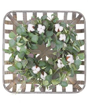 WANNA CUL 20 Inch Farmhouse Cotton Wreath For Front Door With Square Tobacco Basket Green Eucalyptus Leaves Large Indoor Outdoor Fall Autumn Door Wreath Decor For Wall Or Home Decorations 0 300x360