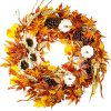 WANNA CUL 24 Inch Farmhouse Fall Wreath Decor For Front Door With White PumpkinWhite Sunflowers Wheat Pine Cone And Maple Leaves Large Harvest Door Wreath For Autumn Or Thanksgiving Decoration 0 100x100