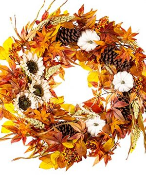 WANNA CUL 24 Inch Farmhouse Fall Wreath Decor For Front Door With White PumpkinWhite Sunflowers Wheat Pine Cone And Maple Leaves Large Harvest Door Wreath For Autumn Or Thanksgiving Decoration 0 300x360