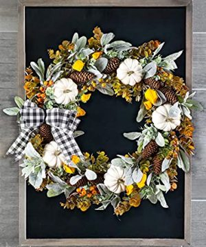 WANNA CUL 24 Inch Farmhouse Fall Wreath For Front Door With White PumpkinCottonLambs Ear And Eucalyptus LeavesHarvest Door Wreath For Autumn Or Thanksgiving Decorations 0 0 300x360