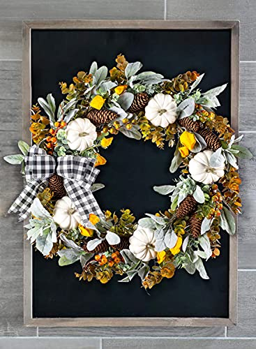 WANNA CUL 24 Inch Farmhouse Fall Wreath For Front Door With White PumpkinCottonLambs Ear And Eucalyptus LeavesHarvest Door Wreath For Autumn Or Thanksgiving Decorations 0 0