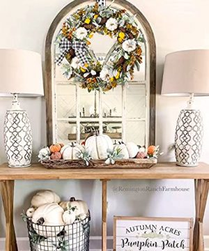 WANNA CUL 24 Inch Farmhouse Fall Wreath For Front Door With White PumpkinCottonLambs Ear And Eucalyptus LeavesHarvest Door Wreath For Autumn Or Thanksgiving Decorations 0 1 300x360