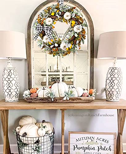 WANNA CUL 24 Inch Farmhouse Fall Wreath For Front Door With White PumpkinCottonLambs Ear And Eucalyptus LeavesHarvest Door Wreath For Autumn Or Thanksgiving Decorations 0 1