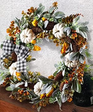 WANNA CUL 24 Inch Farmhouse Fall Wreath For Front Door With White PumpkinCottonLambs Ear And Eucalyptus LeavesHarvest Door Wreath For Autumn Or Thanksgiving Decorations 0 300x360