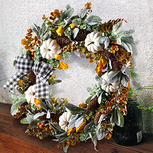 WANNA CUL 24 Inch Farmhouse Fall Wreath For Front Door With White PumpkinCottonLambs Ear And Eucalyptus LeavesHarvest Door Wreath For Autumn Or Thanksgiving Decorations 0